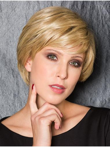 """Blonde With Bangs Short 8"""" 100% Hand-tied Comfortable Synthetic Wigs"""