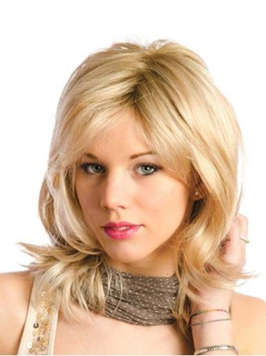 """Blonde Shoulder Length Without Bangs Wavy 12"""" Monofilament Wigs"""