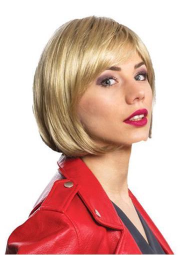 "12"" Straight Blonde Shoulder Length Monofilament Ladies Bob Wig"