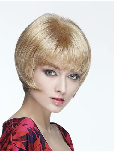 """8"""" Blonde Synthetic With Bangs Straight Short Wigs"""
