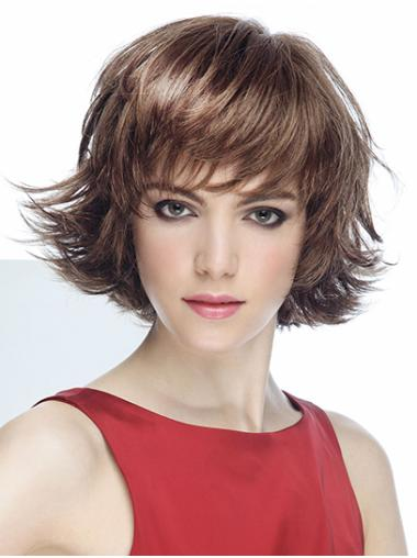 """Brown Short With Bangs Wavy 8"""" Mono Wigs"""