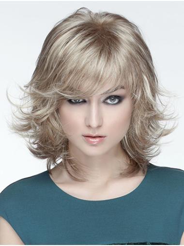 "12"" Monofilament Synthetic Blonde Wavy Medium Wigs New Arrivals"