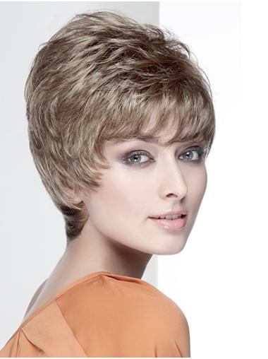 """8"""" Brown Synthetic With Bangs Wavy Short Wig"""