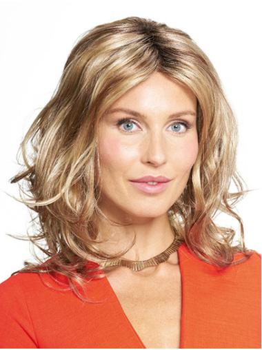 """Shoulder Length Monofilament Synthetic 14"""" Without Bangs Women Medium Wigs"""