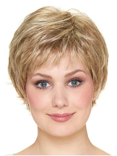 """Blonde 8"""" Wavy Short With Bangs Capless Synthetic Wigs"""