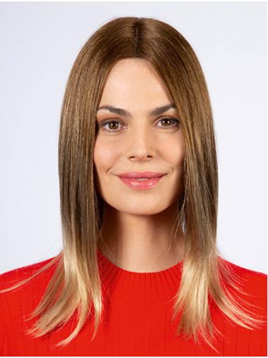 """Shoulder Length Monofilament Synthetic 14"""" Without Bangs Medium Wig"""