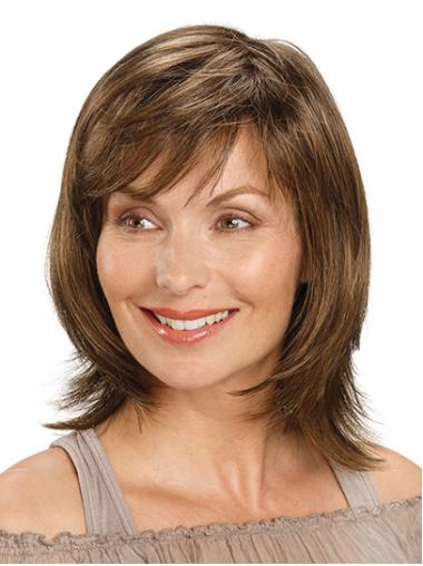 """Shoulder Length Monofilament Synthetic 14"""" With Bangs Medium Length Wigs For Women"""