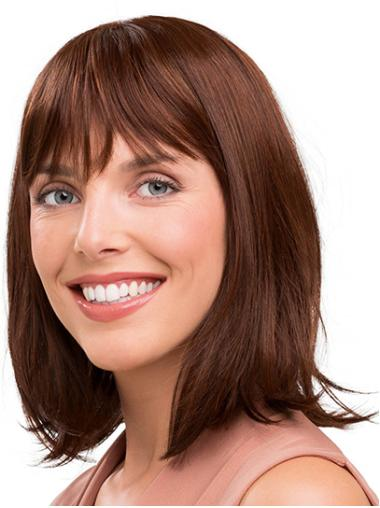 """Shoulder Length Capless Synthetic 14"""" With Bangs Medium Length Wig"""
