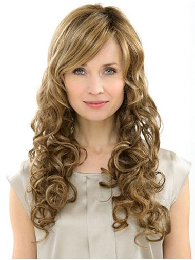 """22"""" Monofilament Curly Synthetic With Bangs Cheap Long Wig"""