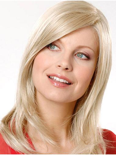 """Straight Shoulder Length Platinum Blonde 14"""" Without Bangs Synthetic Monofilament Wig"""