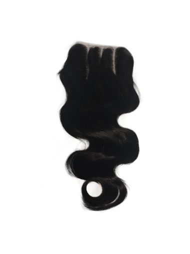 Black Remy Human Hair Wavy 22 Inches Trendy Lace Closure For Wigs
