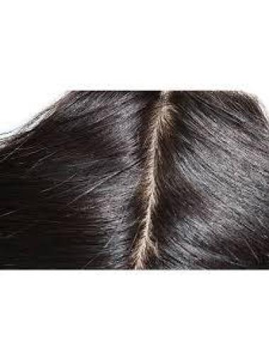 Black 20 Inches Exquisite Lace Human Hair Closures