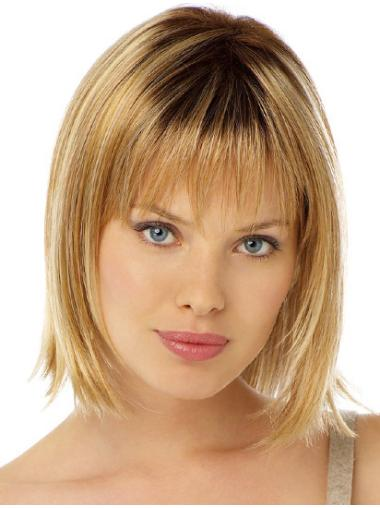 Stylish Chin Length Straight With Bangs Medium Length Wigs Cheap