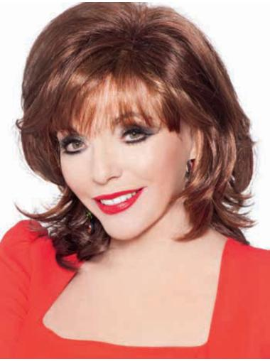With Bangs Wavy Chin Length Auburn Cheap Synthetic Wigs Online