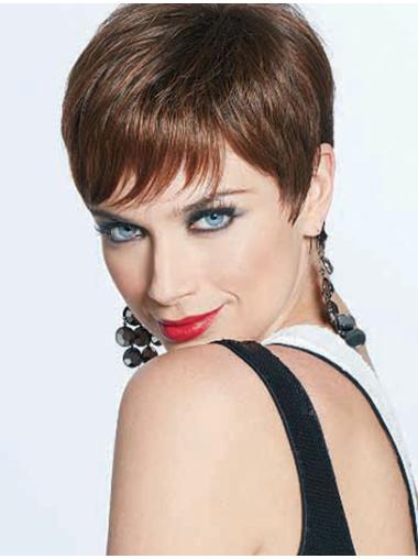 Fashion Boycuts Straight Cropped Auburn Synthetic Wig Front Lace