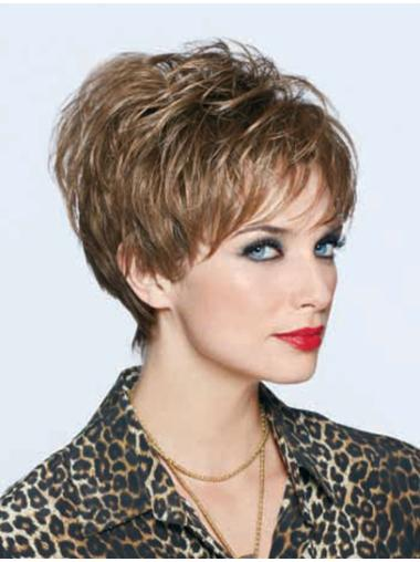 Sassy Boycuts Wavy Cropped Brown Lace Front Synthetic Fiber Wigs