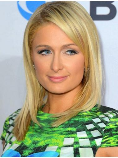 100% Hand-Tied Without Bangs Popular Paris Hilton Human Hair Straight Shoulder Length Wig