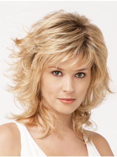 Designed Shoulder Length Synthetic Blonde Medium Wig