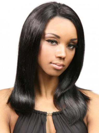 Fashionable Black Without Bangs Best Cheap Human Hair Wigs