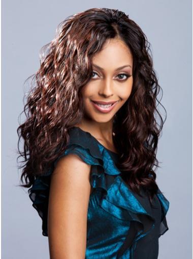 Without Bangs Wavy Long Auburn Sleek Brazilian Human Hair Lace Wigs
