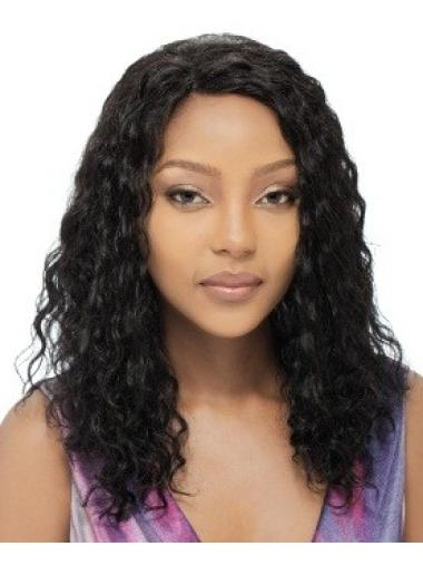 Indian Remy Hair Without Bangs Curly Long Black High Quality Full Lace Human Wigs