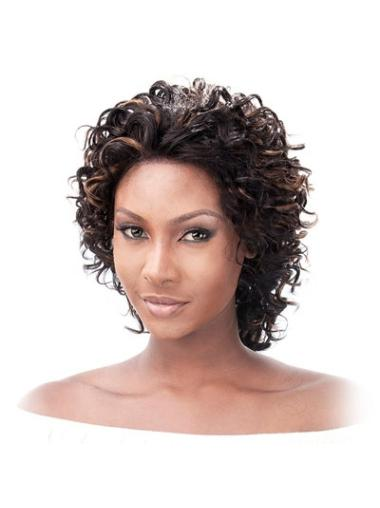 Indian Remy Hair Layered Chin Length Auburn Beautiful African American Curly Human Wigs