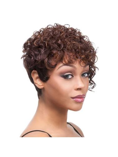 Layered Indian Remy Hair Short Black Women Curly Hairstyles Wigs