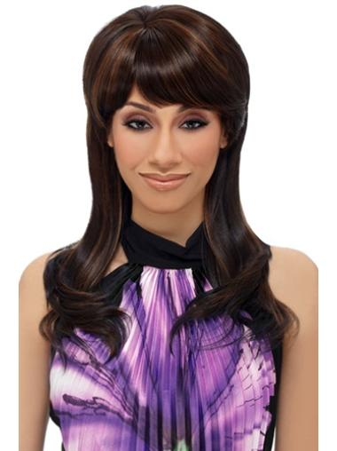 Straight Long Brown Hairstyles Capless Wigs With Bangs