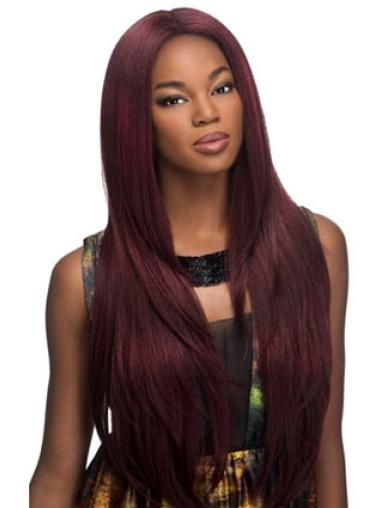 Without Bangs Yaki Long Red Lace Front Synthetic Wig