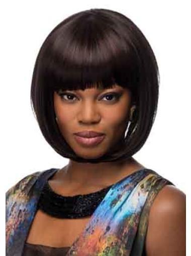 Chin Length Black Stylish Synthetic Elaborately Straight Capless Wig