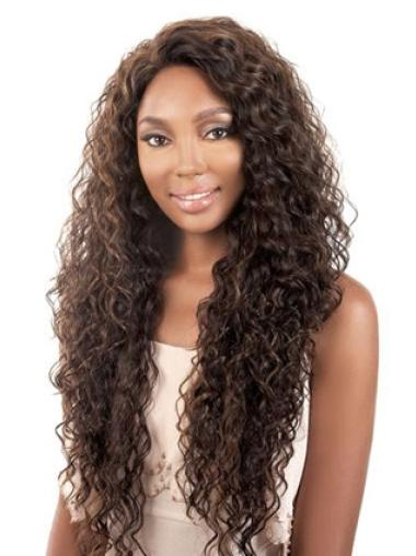 Long 28 Inches Comfortable Capless Synthetic Light Brown Wig