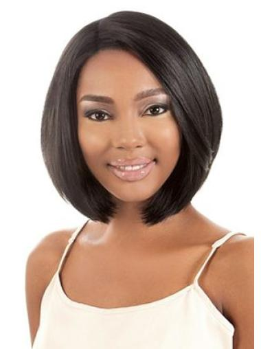 11 Inches Soft Capless Black Synthetic Chin Length Bob Wigs