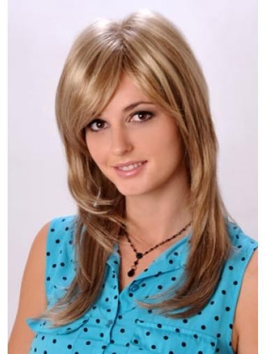 Blonde Straight Monofilament Synthetic Long Layered Wig