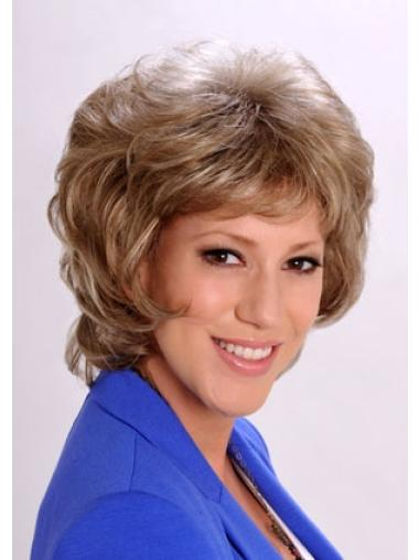 Hairstyles Wavy Chin Length Synthetic Blonde Hair Wig