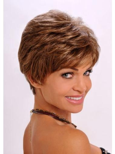 Top Boycuts Wavy Cropped Synthetic Capless Auburn 6 Inch Wigs