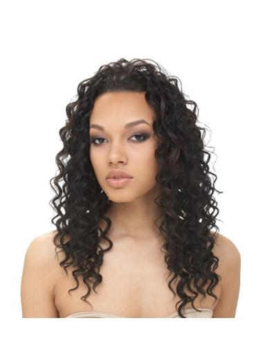 Black Curly Without Bangs African American Synthetic Lace Wigs
