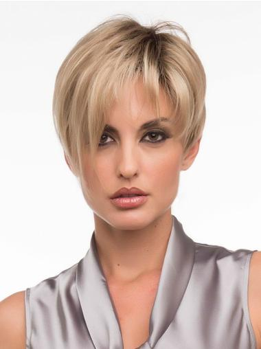 Straight Cropped Synthetic Perfect Monofilament Wigs