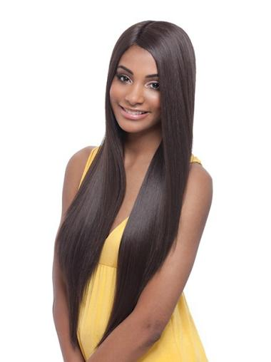 Discount Yaki Long Brown Natural Looking Synthetic Lace Front Wigs