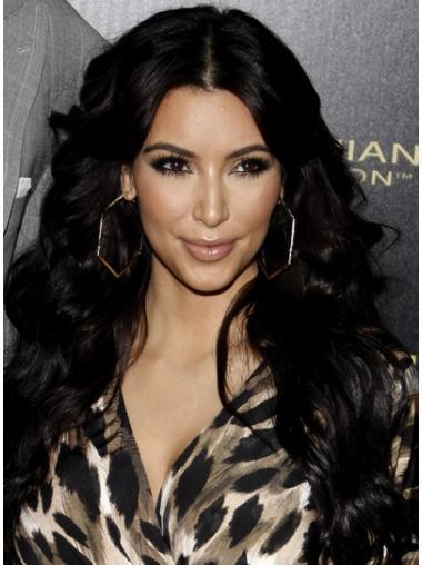 "Long Lace Front Without Bangs 26"" Top Kim Kardashian Human Hair Black Wigs"