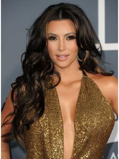 """Long Lace Front Layered 24"""" Stylish Kim Kardashian 100% Human Hair Curly Wigs"""