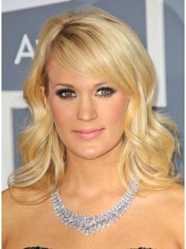 "With Bangs Wavy 14"" Carrie Underwood 100% Human Hair Wigs Blonde"