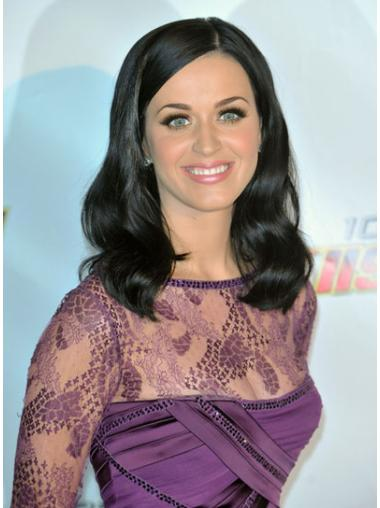 Famous Celebrity Wigs Black Shoulder Length Remy Human Hair Good Katy Perry Wigs