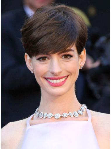 Brown Straight Cropped Suitable Anne Hathaway Wigs