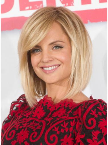 Perfect Lace Front Chin Length Straight Blonde Mena Suvari Bob Style Human Hair Wigs