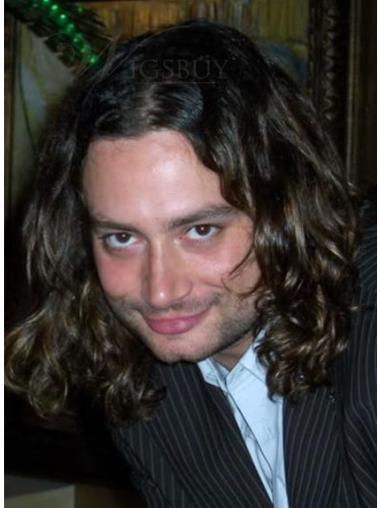 Brown Shoulder Length Great Men Human Hair Wigs