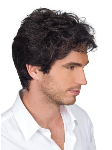 Ideal Remy Human Hair Short Brown Monofilament Wig For Men Humble