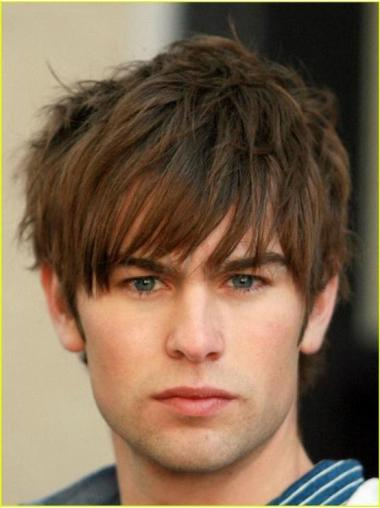 Convenient Remy Human Hair Short Brown 100% Hand-Tied Wig For Men Humble