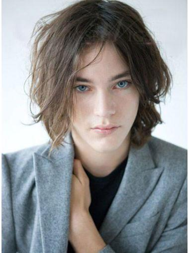 Gorgeous Remy Human Hair Chin Length Brown Lace Front Wig For Men Humble