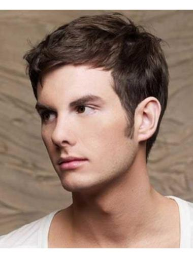 Good Remy Human Hair Cropped Brown 100% Hand-Tied Wigs On Sale For Men