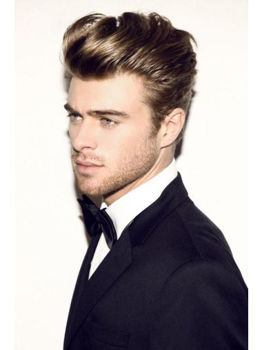 Remy Human Hair Cropped Brown 100% Hand-Tied Wigs For Men Online Cheap
